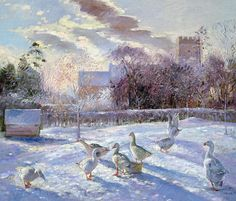 Winter Geese in Church Meadow Painting by Timothy Easton - Winter Geese in Church Meadow Fine Art Prints and Posters for Sale