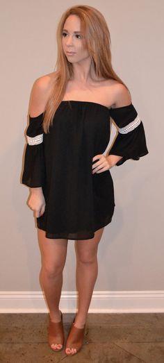 Off the Shoulder Tunic Dress  (Black)