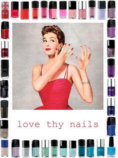Cutex Love This! my dad still calls nail polishes of any brand cutex lol Vintage Makeup Ads, Vintage Nails, Retro Makeup, Vintage Beauty, Vintage Fashion, Red Nail Polish, Beauty Ad, Old Advertisements, Retro Ads