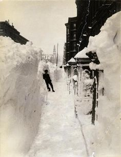 New-York Historical Society    Today in 1888: A great blizzard (by some accounts a late-season hurricane that collided with a cold front) paralyzes New York under snowdrifts two stories deep in places; it will take the city nearly two weeks to recover.