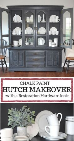 A Brick Home: Chalk Paint Hutch Makeover in Charcoal, Chalk Paint hutch ideas grey, dining room hutch makeover, furniture makeover, chalk paint furniture