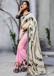 Party Wear Georgette Pink Printed Saree