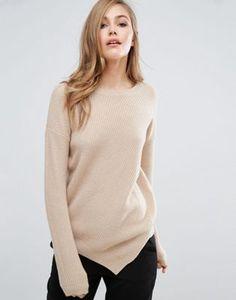 Sisley Sweater in Rib with Asymmetric Hem