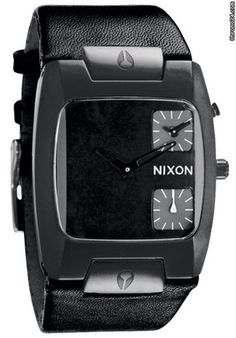 Nixon The Banks Leather Black mens watch $465 #black #trend #leather