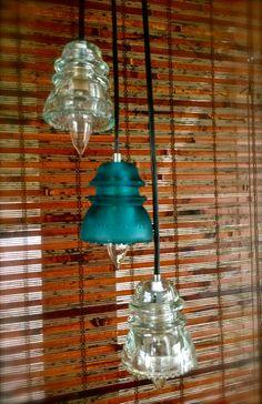 Repurposed Glass Insulator Pendant Lights Blue by OhGloryVintage