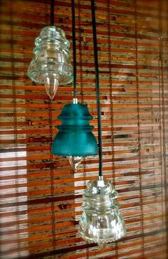 Repurposed Glass Insulator Pendant Lights, Blue and Clear Glass
