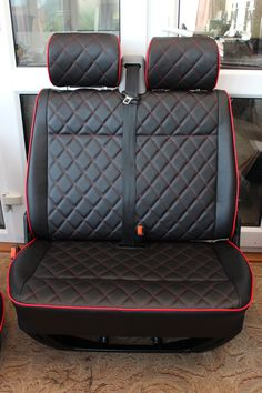 VW T4 DIAMOND PATTERNED FRONT SEATS IN SMOOTH BLACK VINYL WITH RED DETAILING  Here we have a set of VW T4 front seats fully re-trimmed in top quality automotive vinyl. They have a red piping surround, with a matching red diamond stitching to the backs, bases and headrests as well as extra padding to the front and sides gives a plush finish.  They are genuine VW seats, not modified in any way.  There is a base to the double as shown in the picture, but no base to single.