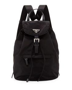 PRADA - Vela Medium Backpack, Black (Nero) 14 1/2h x 14w x 6d - $860
