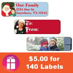 My favorite deal is back! $5.00 for 140 labels (that's the shipped price) I use these for: gift labels, name labels & address labels $5 DEAL (thru Friday, Dec. 6) http://freebies4mom.com/holidaylabels-2/