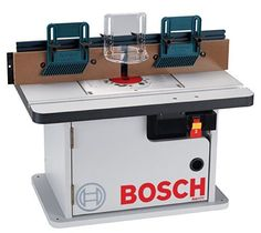 Bosch - Laminated Router Table with Cabinet. - Bring an indispensible work surface to your workshop. This table has a rigid aluminum router mounting plate. It stays flat for precise detailing. It's pre-drilled for many routers. Woodworking Tools For Beginners, Essential Woodworking Tools, Antique Woodworking Tools, Unique Woodworking, Woodworking Techniques, Woodworking Projects, Woodworking Plans, Grizzly Woodworking, Workbench Plans