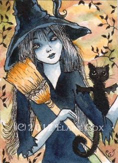 Gothic witch Black Garland cat halloween open by ElaineCoxArt