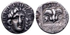 AR Hemidrachm. Greek, Rhodos, Rhodes. Plinthoporic standard. Circa 125-88 BC. 13mm, 1,28g, 12h. BMC 297var. VF. Starting price (2.7.2016): 38 EUR. Unsold.
