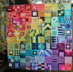 "Unlocked Quilt, by Debbie Jeske. ""All blocks are from Tula Pink's City Sampler: 100 Modern Quilt Blocks, part of the City Sampler Quilt Along."""