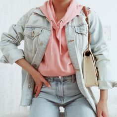 #denimoutfit #pinkhoodie #falloutfit #cozyoutfit #fashion #ootd #ootdinspiration #outfitideas #autumnoutfit #style Fallout, Ootd, Hoodies, Denim, Pink, Jackets, Style, Fashion, Down Jackets