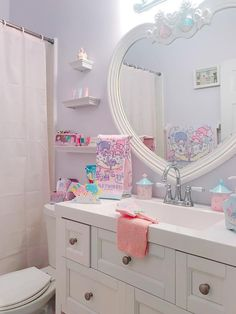 Bathroom decor Pastel Bathroom, Pastel Room, Cute Bedroom Ideas, Cute Room Decor, Pinterest Room Decor, Kawaii Bedroom, Otaku Room, Cute Furniture, Home Room Design