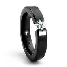 ALLURE Black Titanium Tension Set Diamond Ring - Edward Mirell - For Women #TitaniumJewelry
