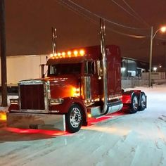 Red Peterbilt in the snow