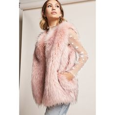 Forever21 SHACI Faux Fur Vest (€74) ❤ liked on Polyvore featuring outerwear, vests, pink, sleeveless faux fur vest, sleeveless waistcoat, faux fur waistcoat, pocket vest and forever 21