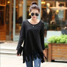 """ÜBER CUTE BOHO TOP WITH CUTOUT DETAILS & FRINGE 🍭🍭Beautiful black boho top with long sleeves and cut out circles with brass grommets and fringe!! 🍭100% cotton, 🍭MED BUST 38"""" LENGTH 30"""" 🍭LARGE BUST 40"""" LENGTH 31"""" 🍭XXL BUST 42"""" LENGTH 32"""" Tops Tees - Long Sleeve"""