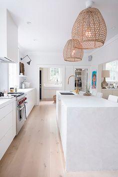 Cheap Home Decor rattan lights.Cheap Home Decor rattan lights All White Kitchen, White Kitchen Cabinets, Kitchen Cabinet Design, Modern Kitchen Design, New Kitchen, Cabinet Decor, Natural Kitchen, Kitchen Cupboard, White Coastal Kitchen