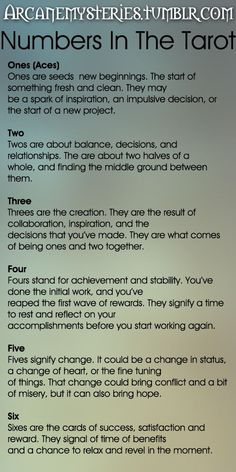 The Tarot Sybarite — arcanemysteries: Numbers In The Tarot.