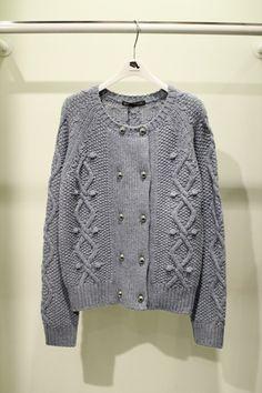 double metal button short length knit@현대백화점