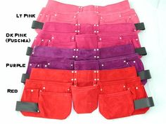 Womens Tool Belts Premium Suede -Dark Pink, Neutral, Royal Blue, Red or Black - Charm and Hammer