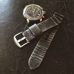"One of our favourite straps. Our black Bas and Lokes distressed ""Landis"" handmade leather watch strap. Find Landis and many more handmade leather watch straps here:    http://www.basandlokes.com/handmade-leather-watch-straps/ #watches #BasandLokes #watchstrap"
