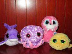 "TY Beanie BOOS LOT Plush LEGS Octopus FLIPS Dolphin POKEY Turtle TUSK Walrus 6"" Ty Boos, Ty Beanie Boos, Dolphins, Turtle, Plush, Teddy Bear, Legs, Christmas Ornaments, Board"