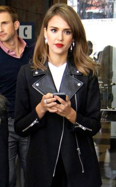 Biker Jacket, Red lip Jessica Alba from The Big Picture: Today's Hot Pics! | E! Online
