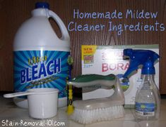 cup chlorine bleach * 1 cups water * 1 tablespoon borax Directions: Mix all the ingredients together and place in a spray bottle. You can then spray the mildew cleaner onto the hard surface and let it sit for around half an hour Scrub, rinse, dry Cleaning Mold, Cleaning Recipes, House Cleaning Tips, Cleaning Hacks, Green Cleaning, Spring Cleaning, Bathroom Mold Cleaner, Mold In Bathroom, Shower Cleaner