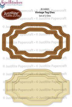Spellbinders Die for JustRite - Vintage Tag Dies, The Stamp Simply Ribbon Store