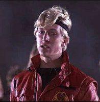 "William Zabka, better known as ""That Cobra Kai dick from The Karate Kid.'"" We also love you for it Zabka! The Karate Kid 1984, Karate Kid Movie, Karate Kid Cobra Kai, Karate Kid Headband, Kids Headbands, Cobra Kai Dojo, William Zabka, Ralph Macchio, Horrible People"