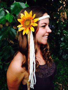 $24 Angel White Yarn Braid Gold Sparkle Ribbon, Gypsy Halo, Silk Sunflower, Hair Accessory, Headpiece, EDC, Vintage, Handmade, Festival Fashion