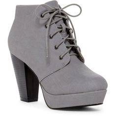 ANNA Goldie Platform Bootie (€20) ❤ liked on Polyvore featuring shoes, boots, ankle booties, heels, ankle boots, grey, heeled booties, lace up ankle boots, lace up platform bootie and laced up platform booties