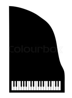 Vector of 'vector silhouette grand piano on white background'    Johnson - put this up against a wall in the music room?