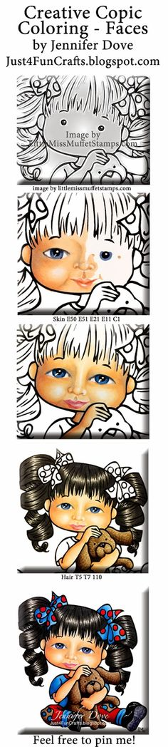 Just4FunCrafts and DoveArt Studios: Creative Copic Color Placement - Faces -  Copics: Hair T5 T7 110 Skin E50 E51 E21 E11 C1 Eyes B45 B97 T5 T3 C1 Doggie E43 E44 E47 E49 Shoes C5 C7 C9 100 Blue BG02 BG04 BG06 Red R24 R46 R59