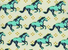 Cotton and Steel Melody Miller Mustang Gallop Print Cotton Fabric Blue