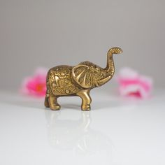 Brass Elephant Figurine Vintage Metal by CozyTraditions