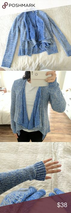 Anthropologie Cascade Sweater Super comfy and relaxed sweater that beautifully cascades in the front. Stunning blue colors of yarn. Sure to be a favorite go-to sweater! Perfect condition. Anthropologie Sweaters Cardigans