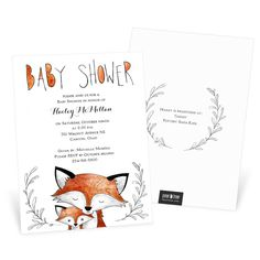 Shop Pear Tree for stylish and unique baby shower invitations you can personalize to perfection. The Fox Fun design is one of many awesome choices!