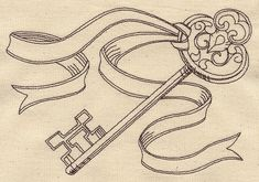 Vintage Hand Embroidery Patterns Baskets   vintage key with ribbon ut4508 craft a vintage look with this ...