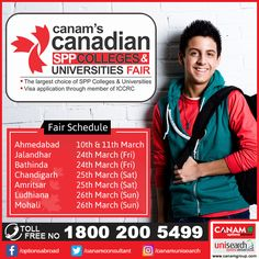 Get ready to shape your destiny when you become a part of this exclusive #EducationFair by #CanamConsultants where you will get guidance about Canadian #colleges and #universities. Save the date and reserve your place. For more details Register Today!  #StudyAbroad #StudyinCanada #StudentVisa #StudyVisa #StudentVisaExpert