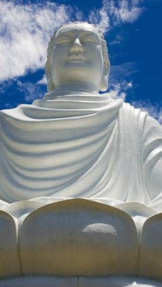Buddha, Nha Trang, Vietnam. Buddhism had began in India, but over time has shifted to eastern countries in Asia Many believe in the idea of Karma reflecting on one's nature being good, or bad.