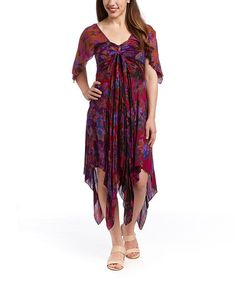 This Purple Cape-Sleeve Handkerchief Dress by The OM Company is perfect! #zulilyfinds
