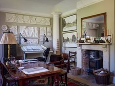 I'd love to have a fireplace like this in my office - A Home in Dorset - Pen Pentreath Ltd.