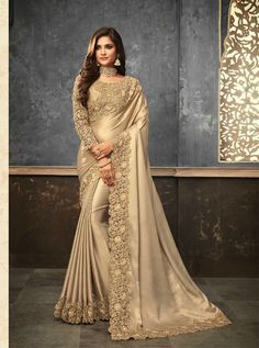 Items similar to Shimmer Silk Sarees Embroidered available in 5 Colours on Etsy Wedding Sarees Online, Saree Wedding, Wedding Dress, Beautiful Saree, Beautiful Outfits, Beautiful Women, Fancy Sarees Party Wear, Trendy Sarees, Stylish Sarees