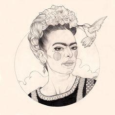 Frida Kahlo original drawing by LizCIllustration on Etsy, £200.00
