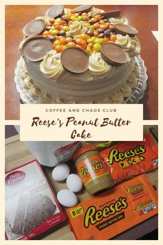 Reese's Peanut Butter Cake - Coffee And Chaos Club Reeces Peanut Butter Cake, Reeces Cake, Peanut Butter Birthday Cake, Peanut Butter Desserts, Let Them Eat Cake, Yummy Cakes, Delicious Desserts, Cupcake Cakes, Cake Recipes
