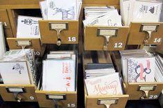 Vintage filing cabinets make for an excellent card display.